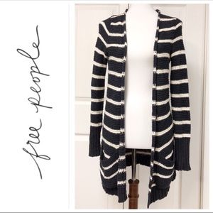 FREE PEOPLE BLACK AND WHITE POCKET CARDIGAN